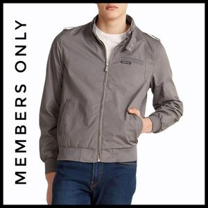 Members Only Men's Gray Iconic Racer Jacket